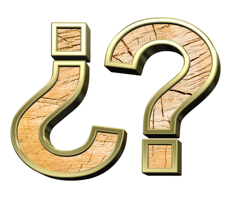 sawed: Question mark from pine wood with gold frame alphabet set isolated over white. Computer generated 3D photo rendering. Stock Photo