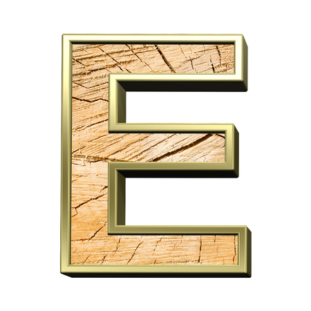 sawed: Letter from pine wood with gold frame alphabet set isolated over white. Computer generated 3D photo rendering.