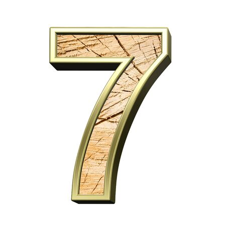 sawed: Number from wooden with gold frame alphabet set isolated over white. Computer generated 3D photo rendering.