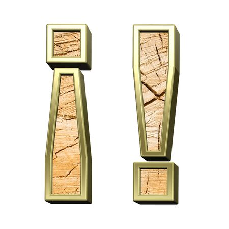 sawed: Exclamation mark from pine wood with gold frame alphabet set isolated over white. Computer generated 3D photo rendering.