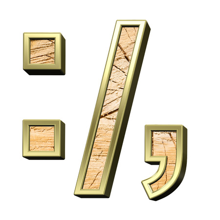 sawed: Signs from pine wood with gold frame alphabet set isolated over white. Computer generated 3D photo rendering.