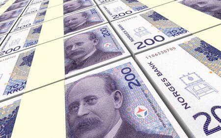 norwegian: Norwegian krone bills stacks background. 3D illustration.