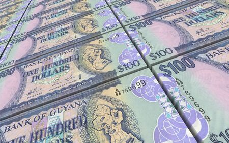 guyanese: Guyanese dollars bills stacks background. 3D illustration.