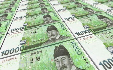 won: Korean won bills stacks background. 3D illustration