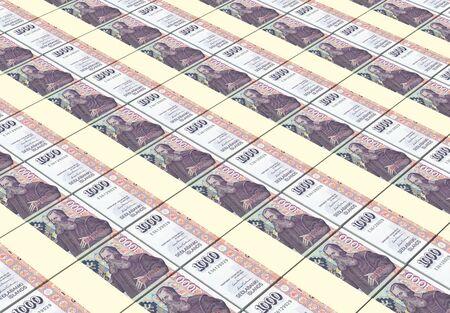 icelandic: Icelandic kronas bills stacks background. 3D illustration