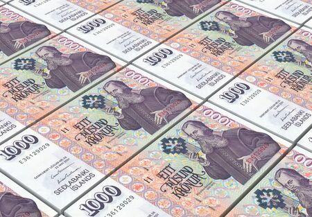 bills: Icelandic kronas bills stacks background. 3D illustration
