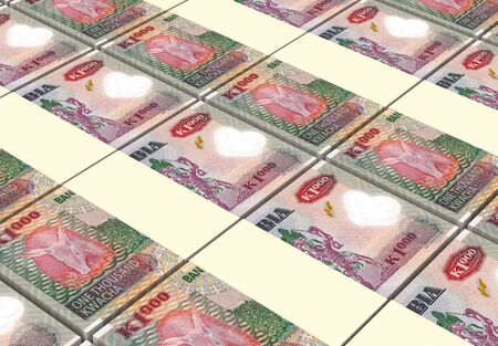 zambian: Zambian kwacha bills stacks background. 3D illustration. Stock Photo