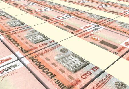 rubles: Belarusian rubles bills stacks background. 3D illustration. Stock Photo