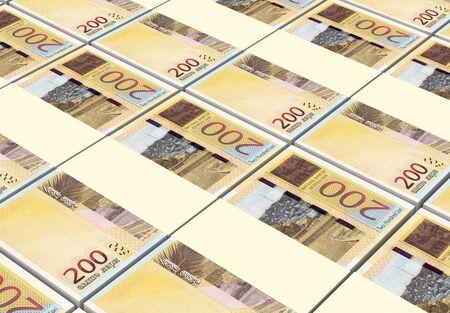 georgian: Georgian lari bills stacks background. 3D illustration.