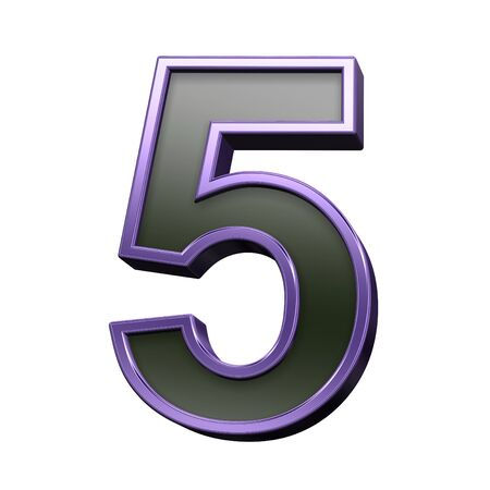 numbers background: One digit from black with violet shiny frame alphabet set, isolated on white. 3D illustration.