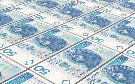 bills: Polish currency bills stacks background. 3D illustration.