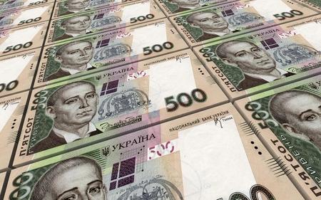 prespective: Ukrainian hryvnia bills stacks background. 3D illustration. Stock Photo