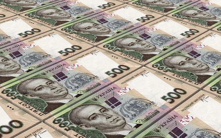 profitability: Ukrainian hryvnia bills stacks background. 3D illustration. Stock Photo