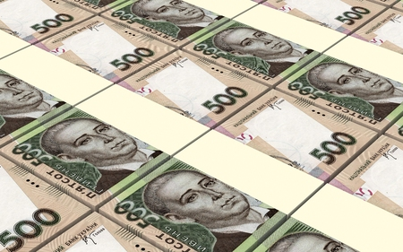 pensions: Ukrainian hryvnia bills stacks background. 3D illustration. Stock Photo