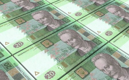 ukrainian: Ukrainian hryvnia bills stacks background. 3D illustration. Stock Photo
