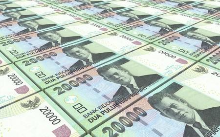 bills: Indonesian rupiah bills stacks background. 3D illustration. Stock Photo
