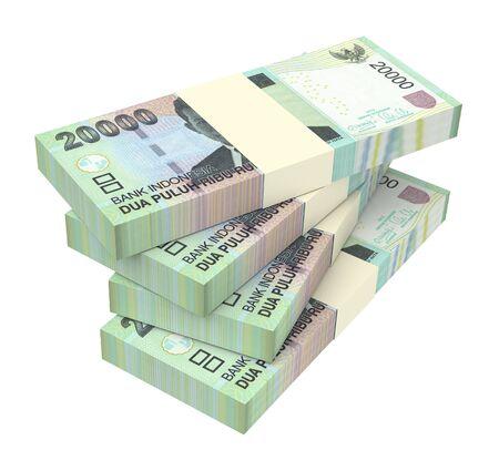 linkedin: Indonesian rupiah money isolated on white background. 3D illustration.