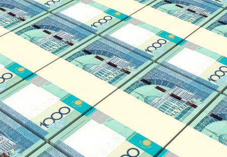 kazakhstan: Kazakhstan tenge bills stacks background. 3D illustration.