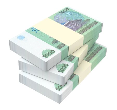packaged: Uzbekistan sums bills isolated on white background. 3D illustration.