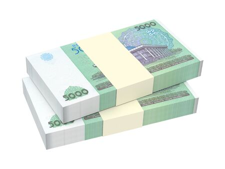 sums: Uzbekistan sums bills isolated on white background. 3D illustration.