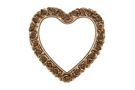 Bronze Herz Bilderrahmen isoliert