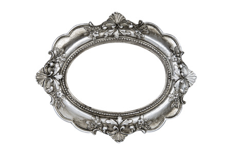Oval silver picture frame isolated