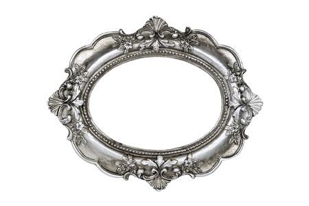 Picture silver cornice ovale isolato Archivio Fotografico - 55524446