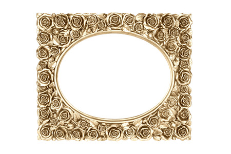 antique frames: Gold carved picture frame isolated over