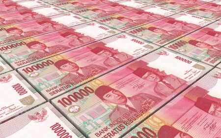 indonesian: Indonesian rupiah bills stacks background. 3D illustration. Stock Photo