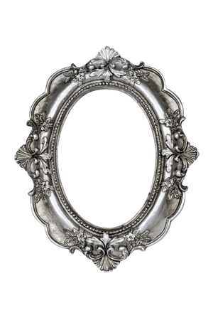 silver frame: Oval silver picture frame isolated