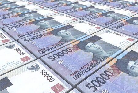 rupiah: Indonesian rupiah bills stacks background. 3D illustration. Stock Photo