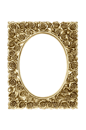 carved: Gold carved picture frame isolated