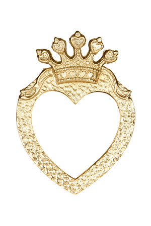 ornate frame: Gold heart picture frame isolated