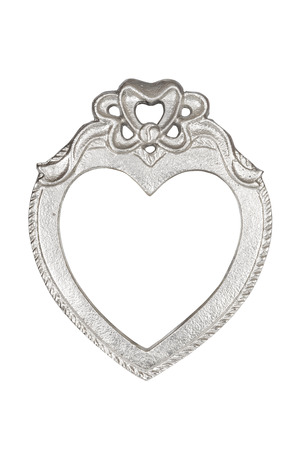 silver frame: Silver heart picture frame isolated