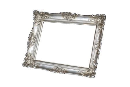 silver frame: Old silver picture frame isolated