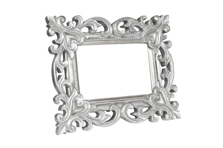 silver frame: Silver carved picture frame isolated