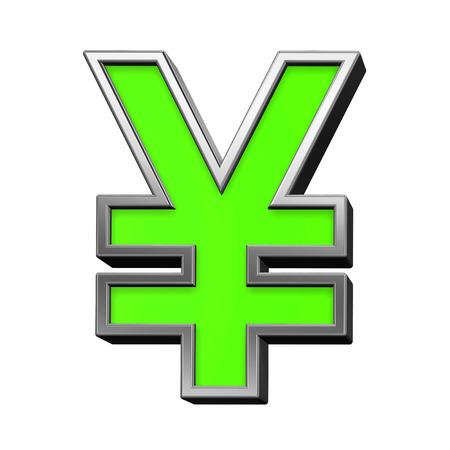 yen sign: Yen sign from green with silver frame alphabet set, isolated on white. 3D illustration.