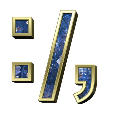 comma: Colon, semicolon, period, comma from blue fractal alphabet set isolated over white. 3D illustration.
