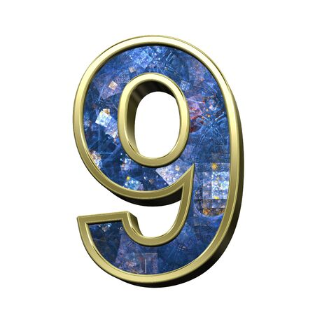 ilustration: Number from blue fractal alphabet set isolated over white. 3D illustration. Stock Photo