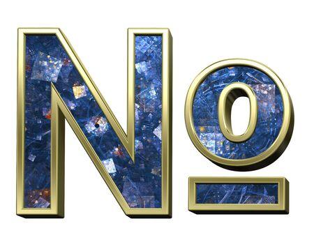 over white: Number sign from blue fractal alphabet set isolated over white. 3D illustration. Stock Photo