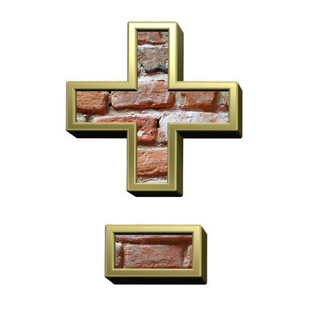 Hyphen, minus, plus marks from old brick with gold frame alphabet set, isolated on white. 3D illustration. Stock Photo