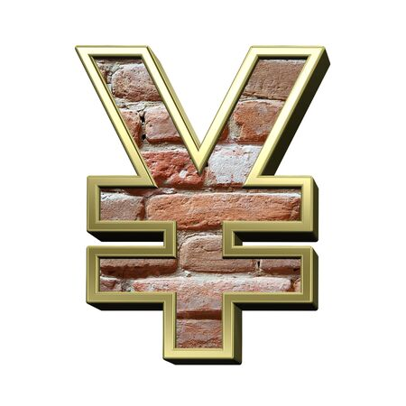 yen sign: Yen sign from old brick with gold frame alphabet set, isolated on white. 3D illustration.