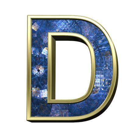 ilustration: One letter from blue fractal alphabet set isolated over white. 3D illustration, Stock Photo