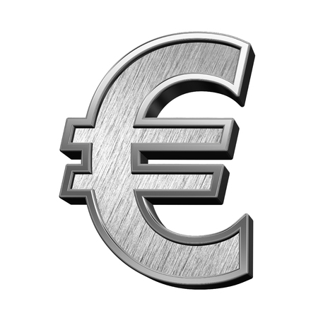 brushed steel: Euro sign from brushed stainless steel alphabet set, isolated on white. 3D illustration.