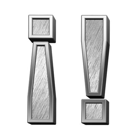 brushed steel: Exclamation mark from brushed stainless steel alphabet set, isolated on white. 3D illustration.