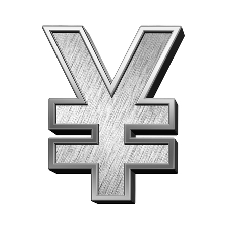 brushed steel: Yen sign from brushed stainless steel alphabet set, isolated on white. 3D illustration. Stock Photo