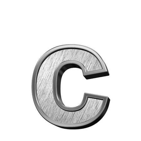 brushed steel: One lower case letter from brushed stainless steel alphabet set, isolated on white. 3D illustration. Stock Photo