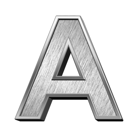 brushed steel: One letter from brushed stainless steel alphabet set, isolated on white. 3D illustration.