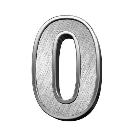 brushed steel: One digit from brushed stainless steel alphabet set, isolated on white. 3D illustration.
