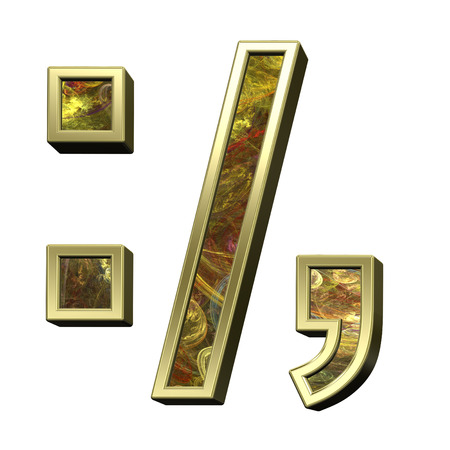 comma: Colon, semicolon, period, comma from fractal alphabet set isolated over white. 3D illustration. Stock Photo